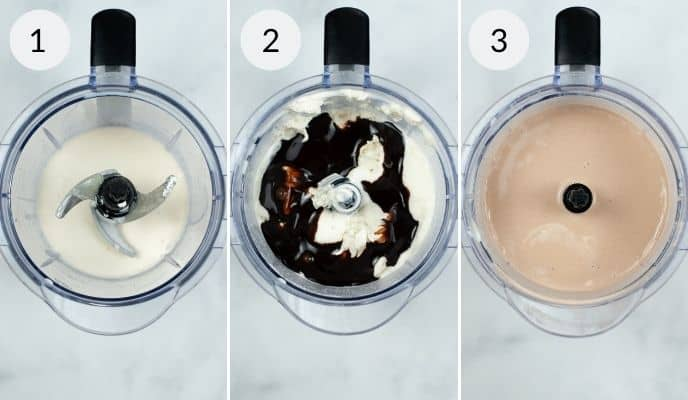 Blender with ingredients before, during and after blending the Wendys frosty shake.