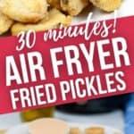 Air Fryer pickles top shot and closeup.