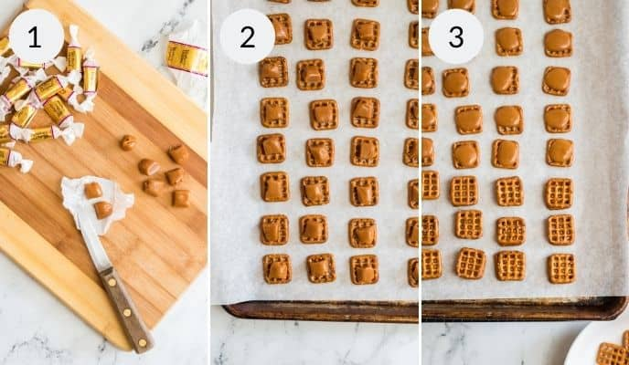 Laying out pretzels on a woden cutting board, them on parchment lined baking sheets with caramels.