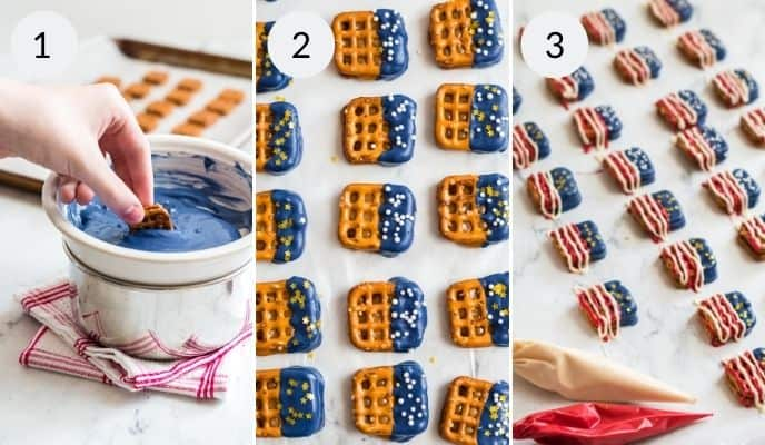 Hand dipping pretzels in chocolate resting on parchment and final with icing and sprinkles.