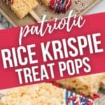 Close up on the patriotic rice krispies treat and the treats laid out on a baking tray.