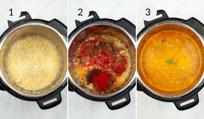 An Instant Pot with the ingredients needed to make Butter Chicken, before and after cooking.