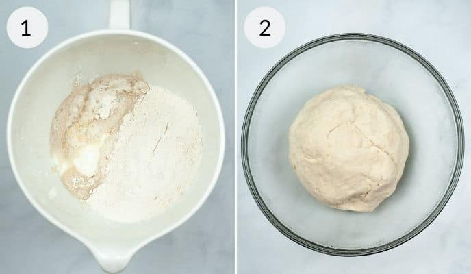 Dough being made in the measuring cup and finished dough in a clear glass bowl.