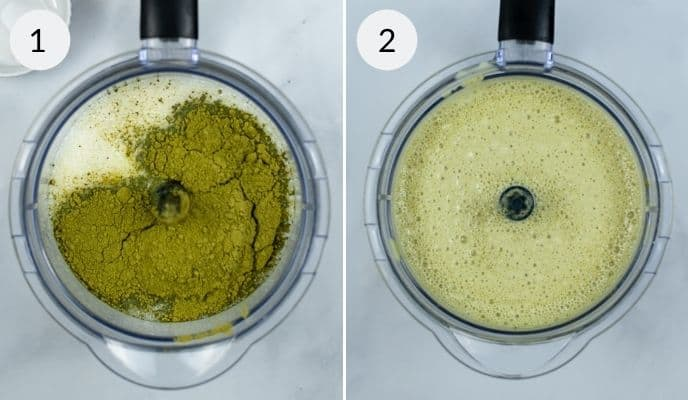 Ingredients before and after blending in a food processor.