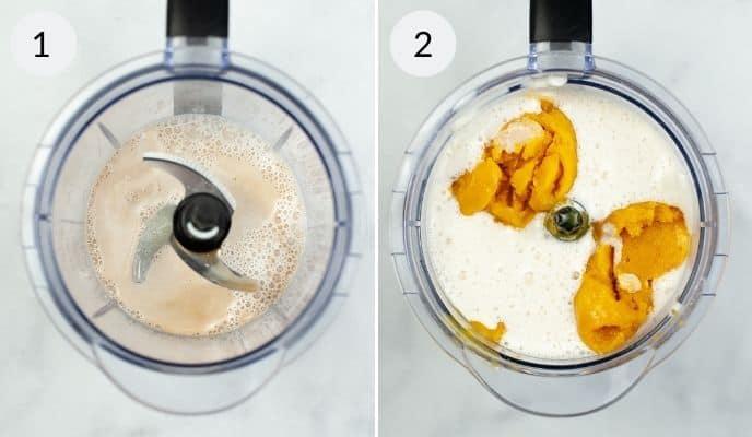 Blender with ingredients added for orange creamsicle shake.