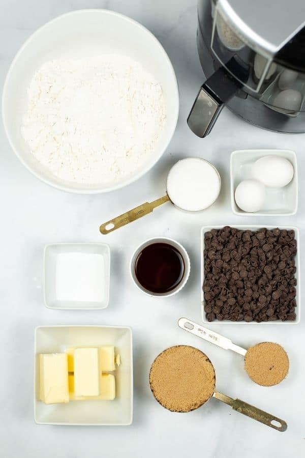 Air fryer, flour, chocolate chips, eggs, sugar to make pizookie.