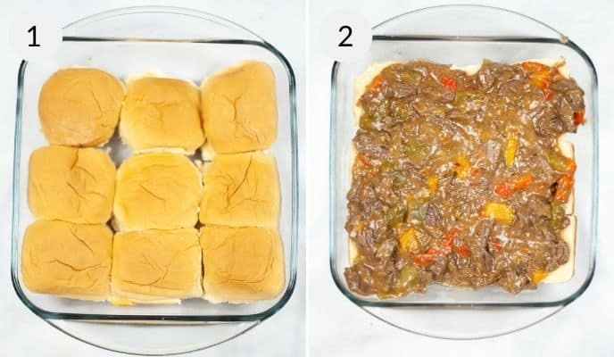 Rolls ina clear pan topped with filling and then the completed slider.