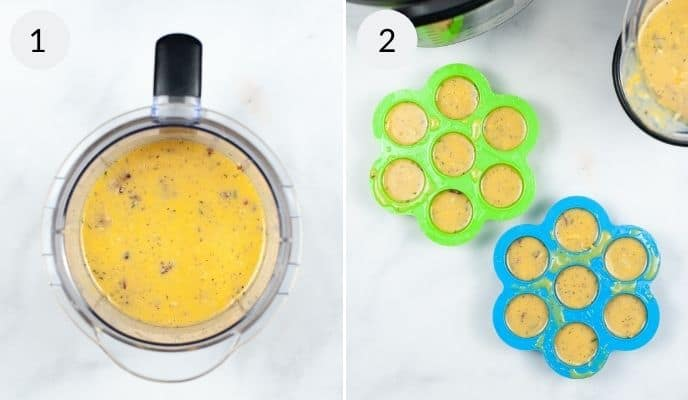 Mix in a measuring cup and with filled egg bite cups