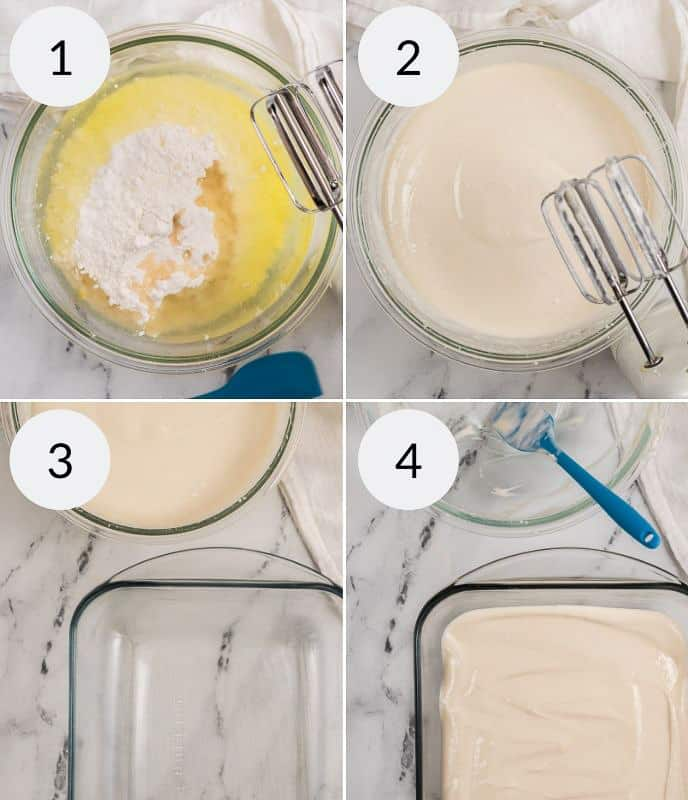 Making a cake in four steps. two in mixing bowl and two in baking dish.