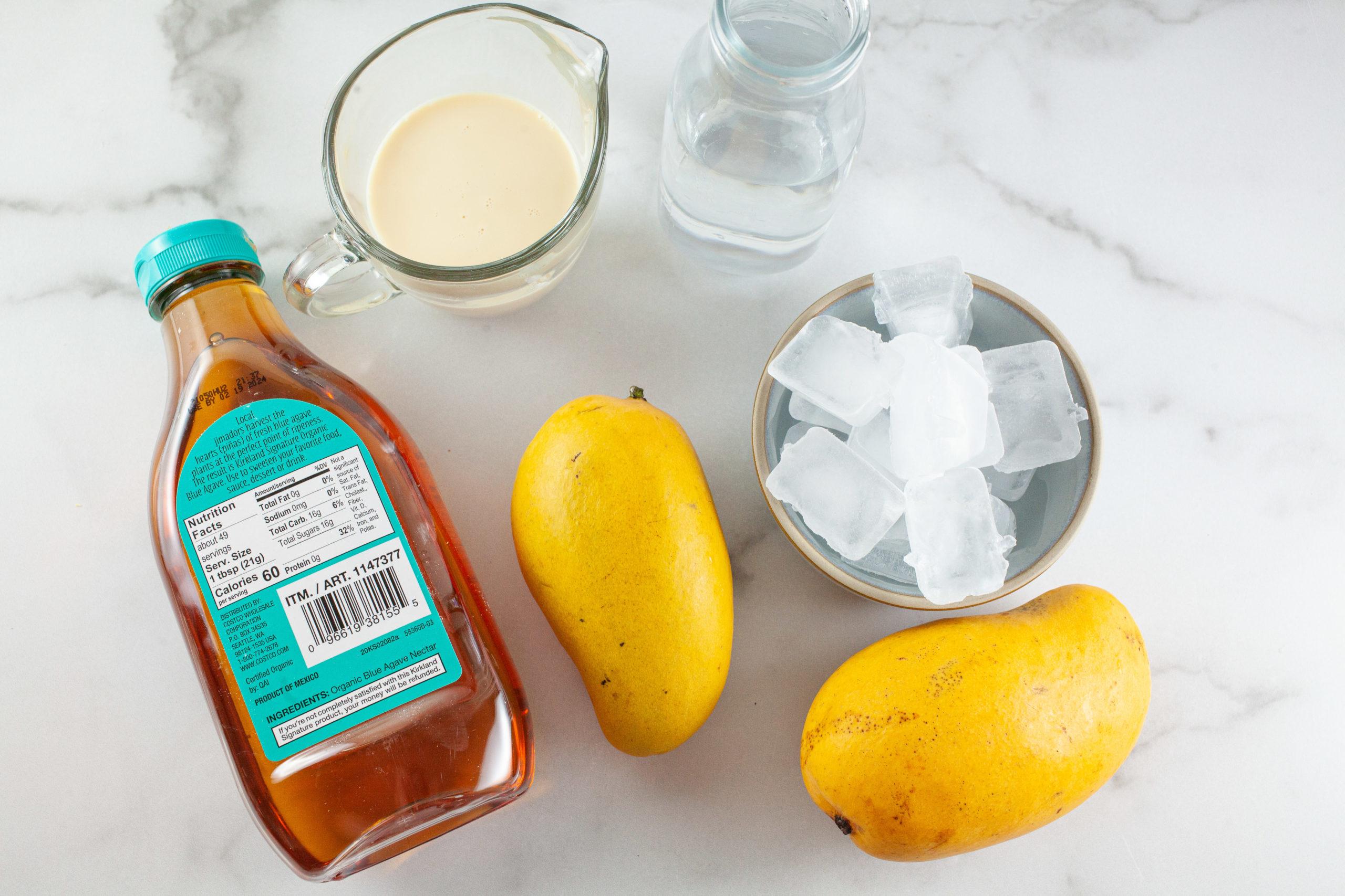 Ice, mangoes, agave nectar and cream.