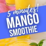 A close up and distant shot of a mango smoothie.