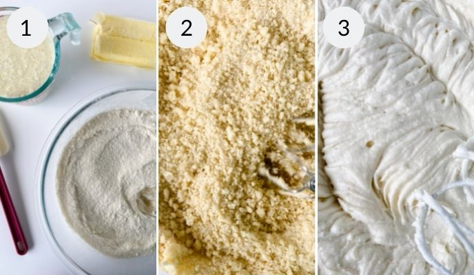 First three steps in making the vanilla cake. Adding ingredients and mixing.