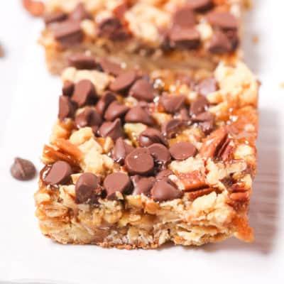 Close up on a chocolate oatmeal square.
