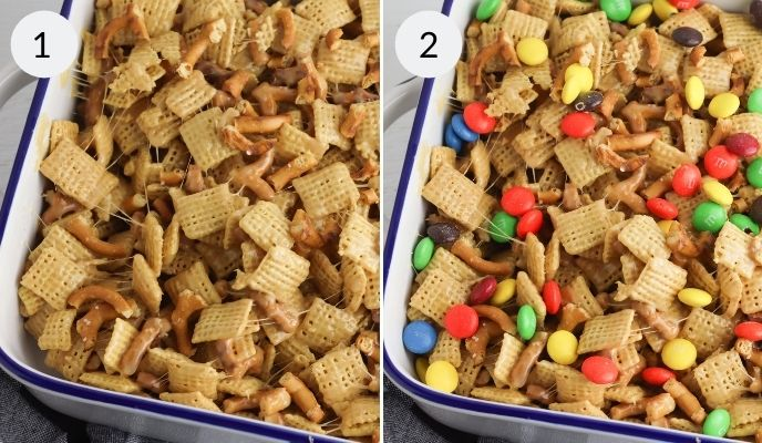 mixture spread out in a pan with candy topping added.
