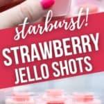 Hand holding a strawberry jello shot and a platter of jello shots.
