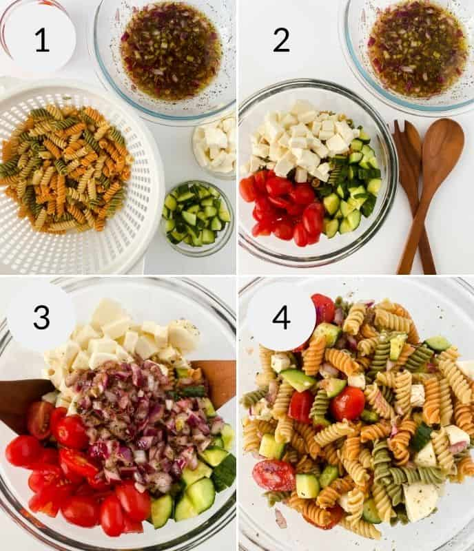 The final steps to assemble the pasta salad by adding all of the ingredients required.