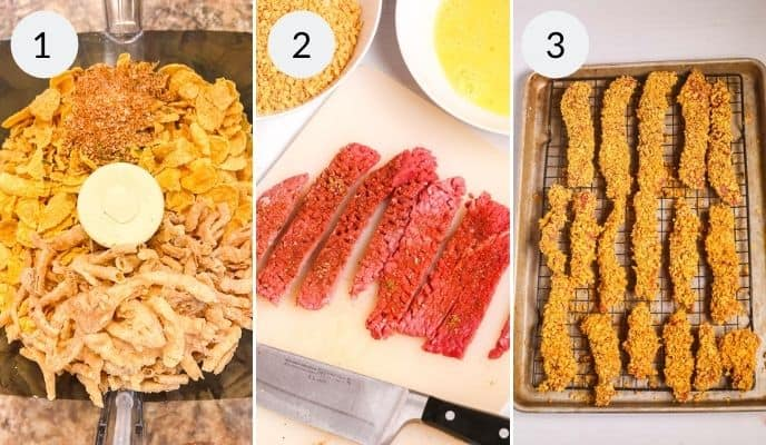 Shot of cornflakes in foodprocessor, steak cut into strips and steaks layed out on a baking tray after coating.
