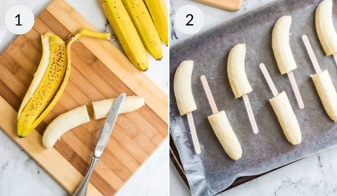 Bananas peeled and on a tray with popcicle sticks in them.