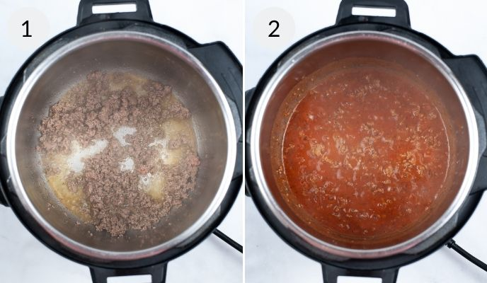Making the ground beef mixture in the instant pot.