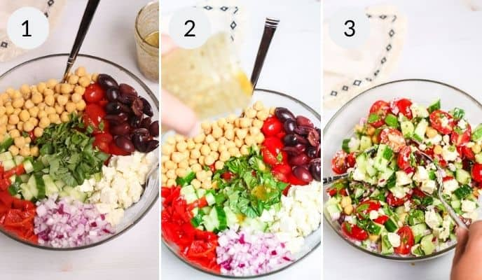 All the ingredients in a bowl before and after combining for Peasant Salad.