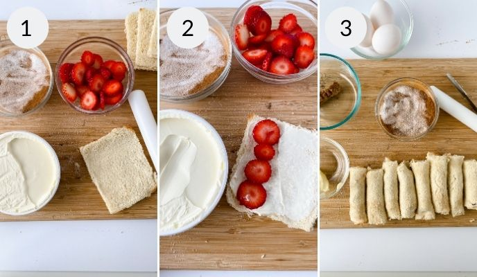 Cream cheese and strawberries being added to bread to make the strawberry stuffed french toast.
