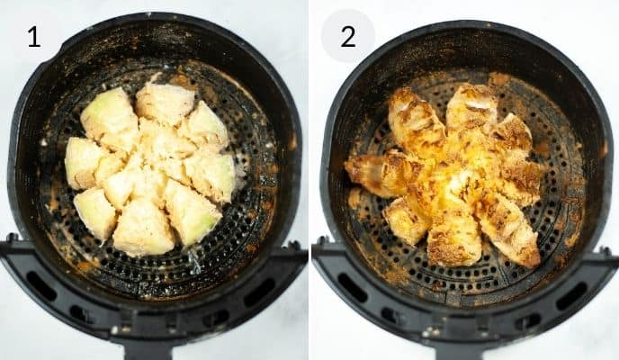 Onion in air fryer before and after being cooked.