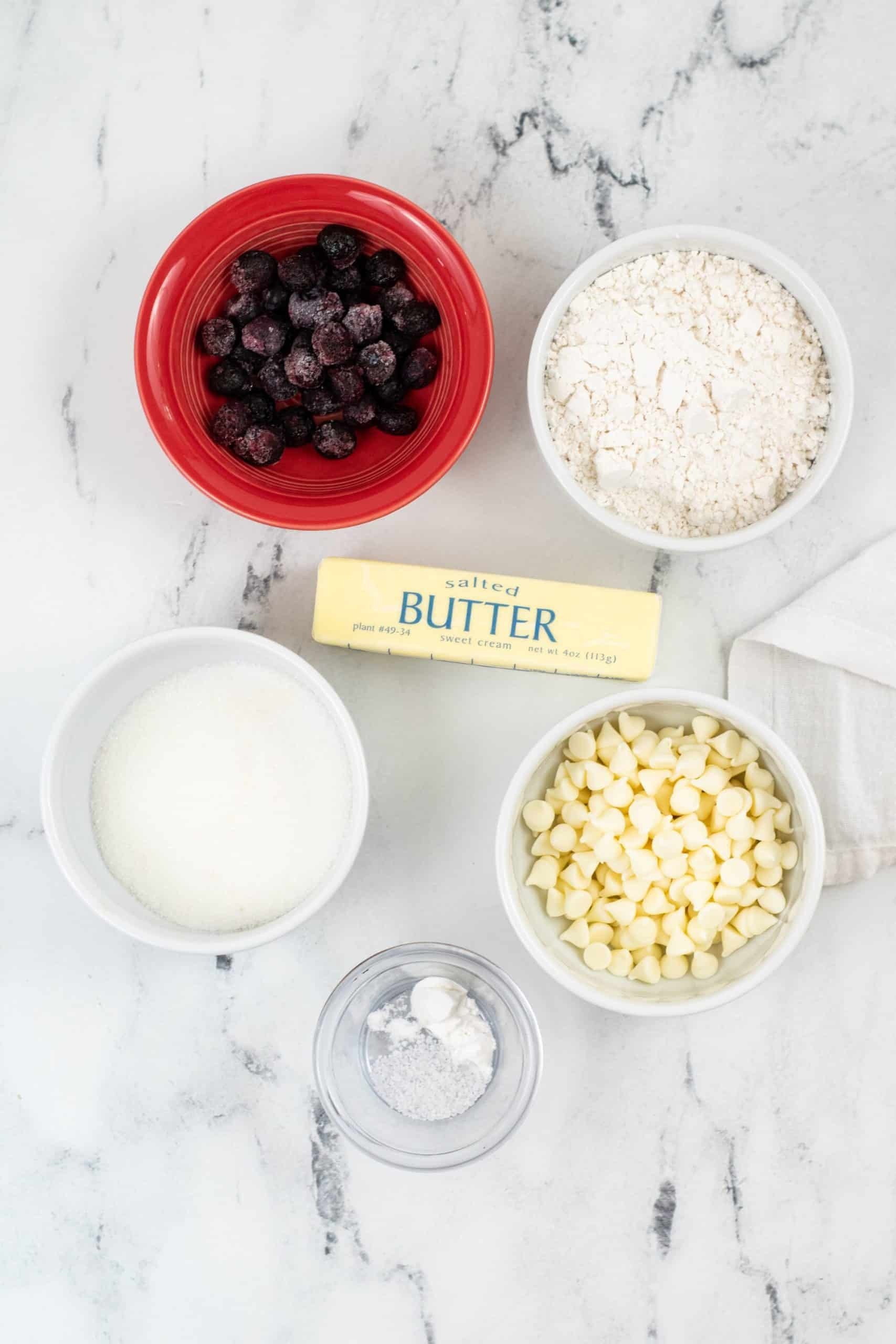 Butter, chips blueberries and cookie mix.