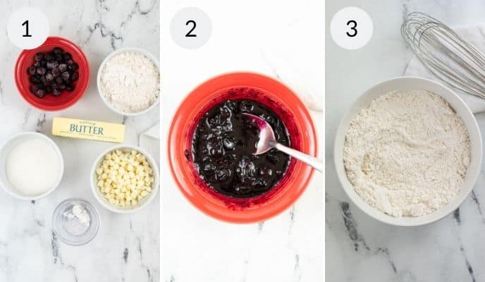 First three steps of mixing batter for cookies.