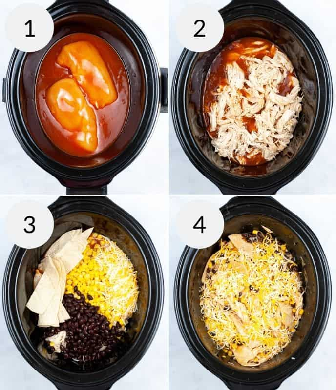 Ingredients added to crock pot in various stanges of before cooked and after.