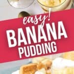 Top and side shot of easy banana pudding in parfait cups.
