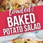 A top shot close up on the loaded potato salad and a side view of a plate of the salad.