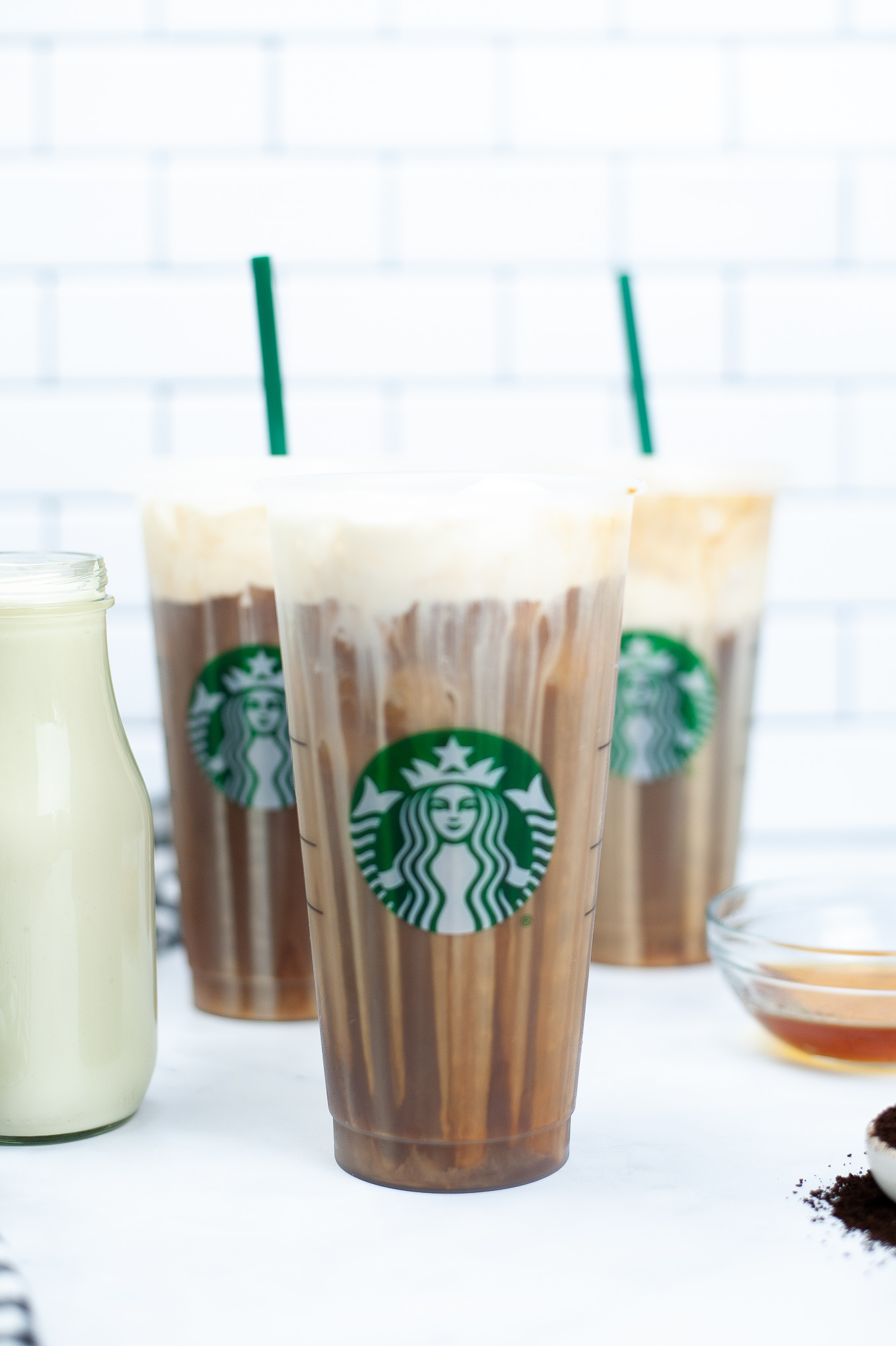 # starbucks tumblers filled with vanilla sweet cream cold brew