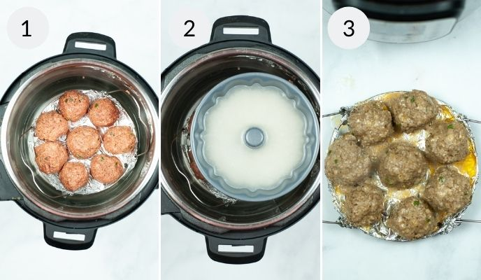 The instant pot filled with asian meatballs before and after cooking.