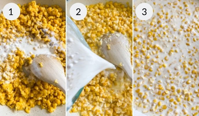 Steps of corn, then with spices added and final corn dish.