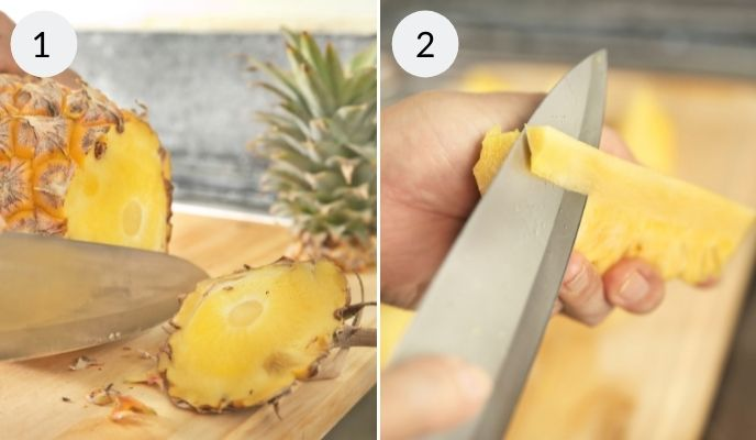 steps for cutting pineapple