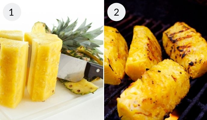 Pineapple being cut and then slices after being grilled.