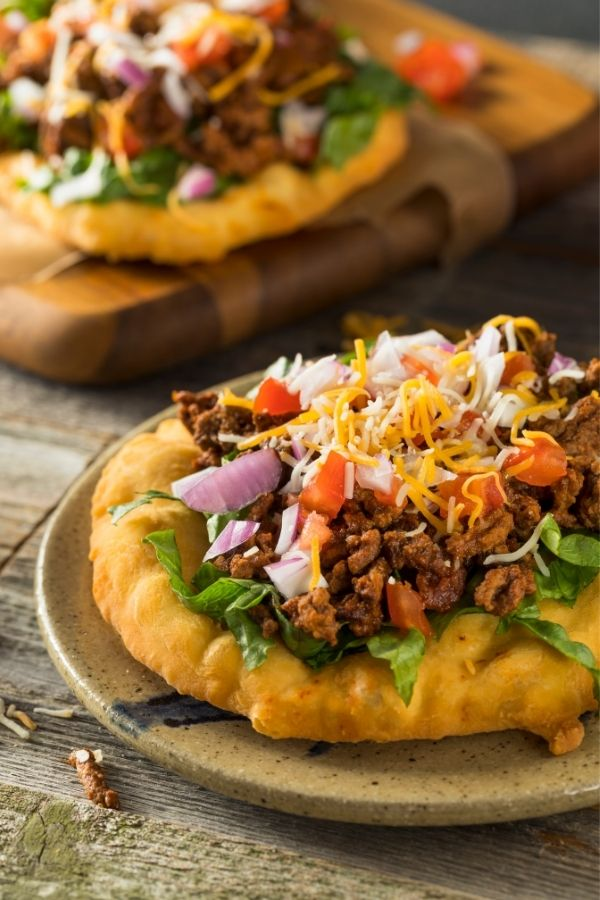 Indan Fry Bread with toppings.