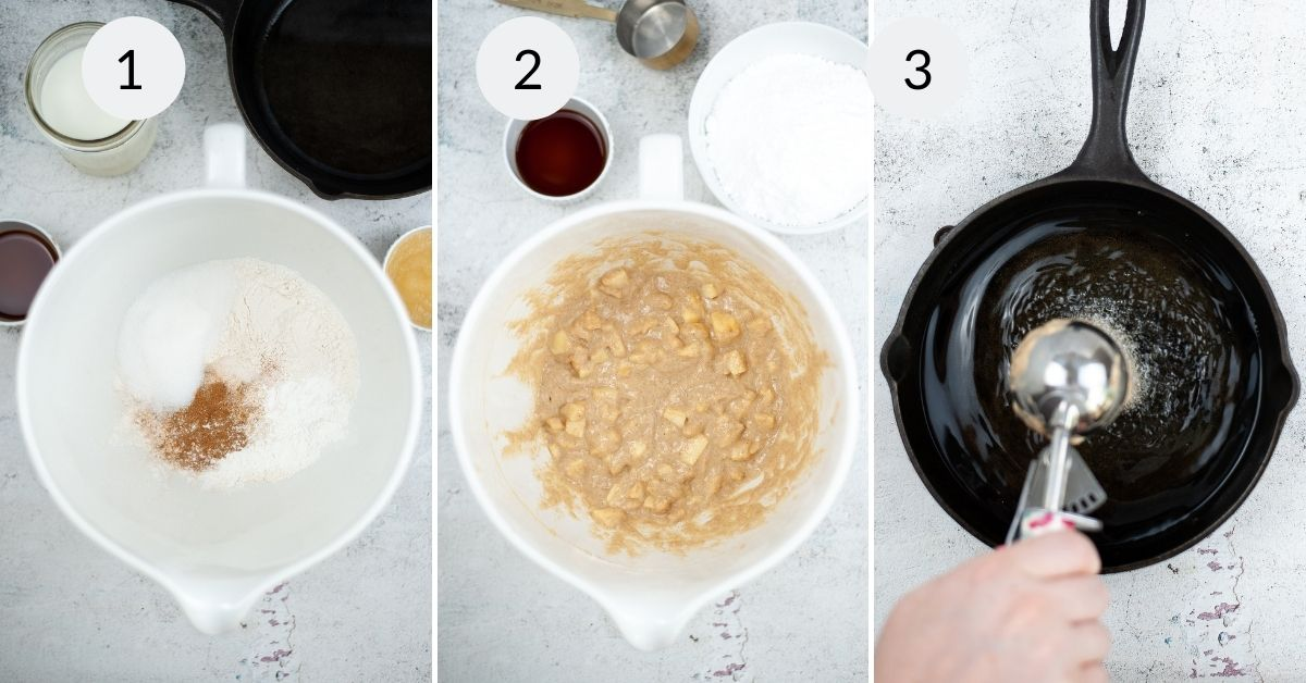 Mixing the batter and preparing the pan to make the fritters.