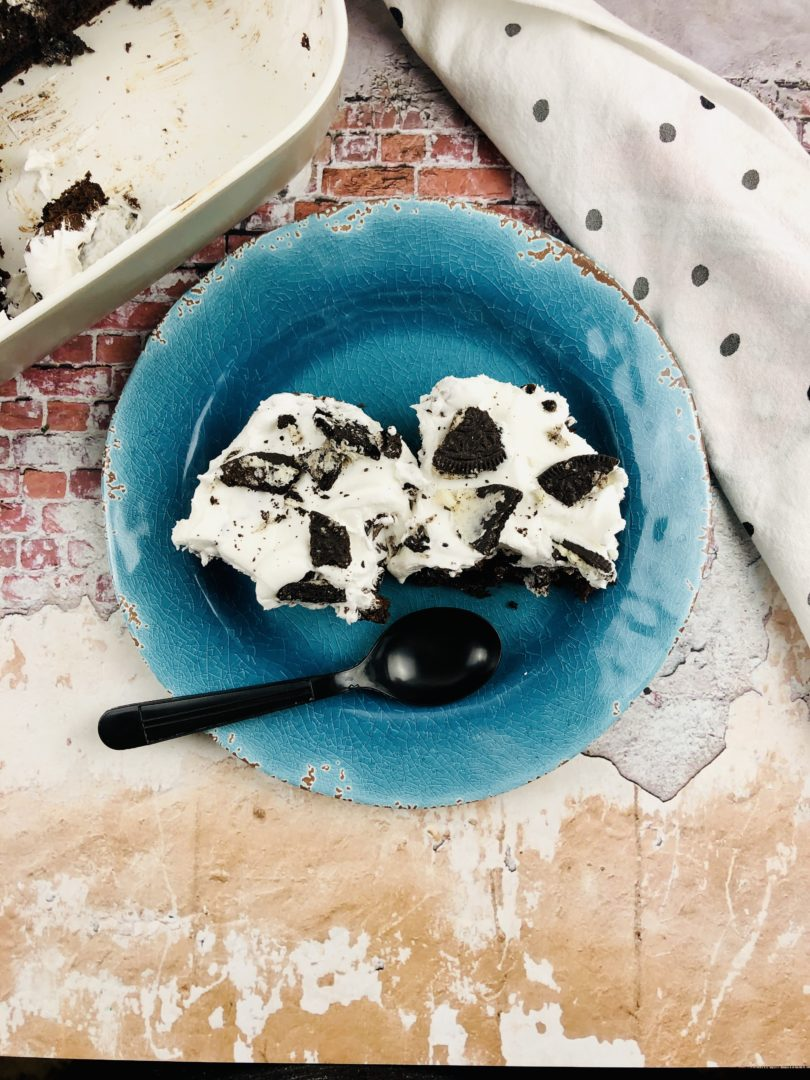 Oreo Dump Cake from the top.