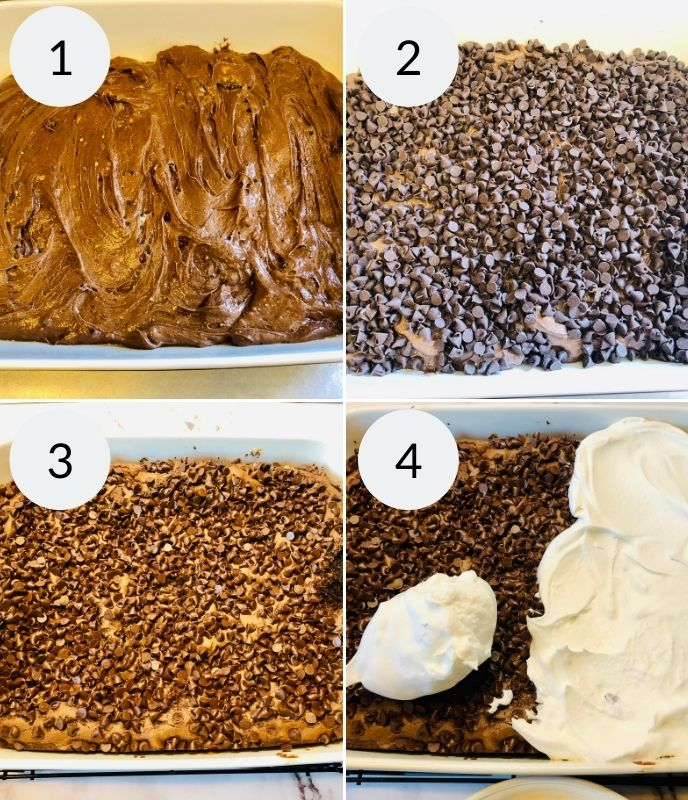 Finishing the dump cake after baking. Topping with whipped topping and oreos.