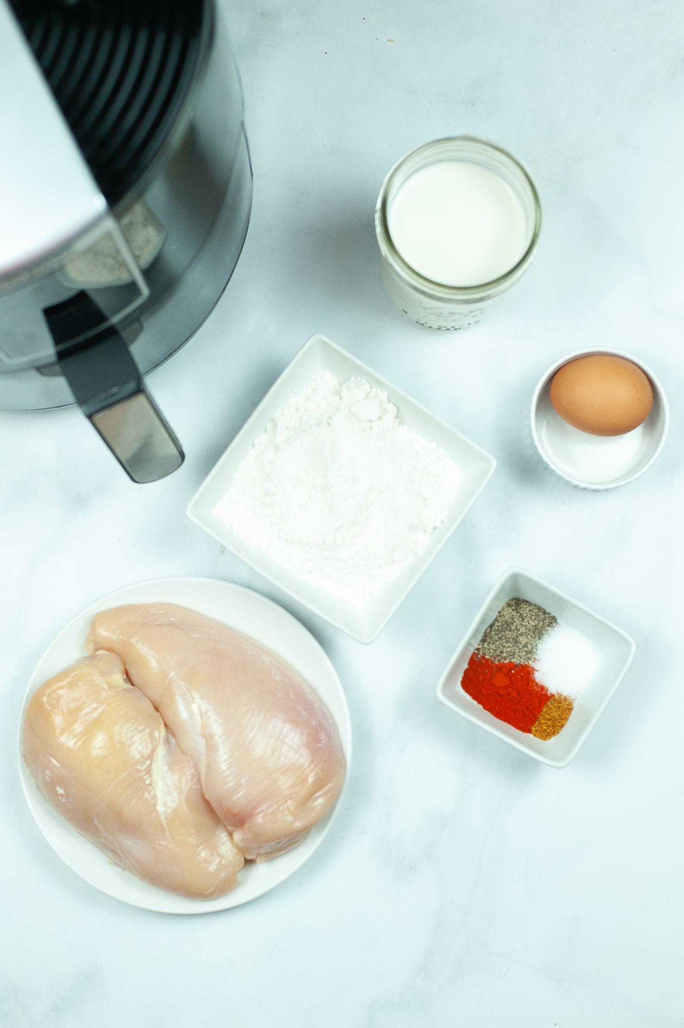Chicken breast, flower eggs, milk and seasoning.