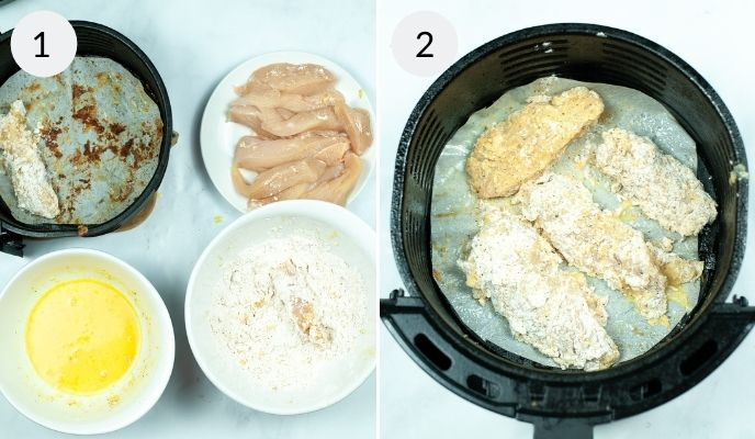All the ingredients before mixing and after mixing and placed in the air fryer basket.