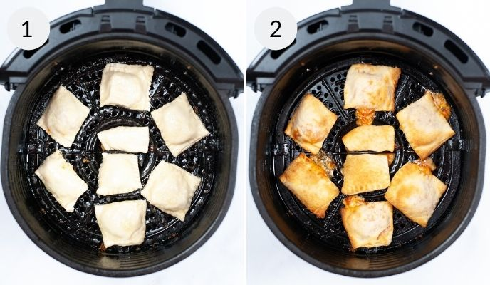 Pizza rolls before and after being cooked.