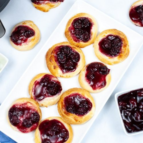 Air Fryer Cherry Danish on a white square tray.