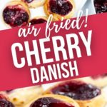 a platter of cherry danish and a close up on one.