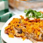 Close up of chicken dorito casserole.