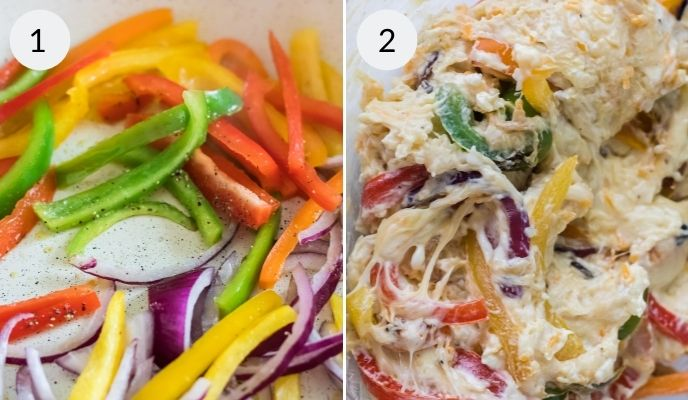 !st picture is the vegetable mixture, second is the vegetables after cooking.
