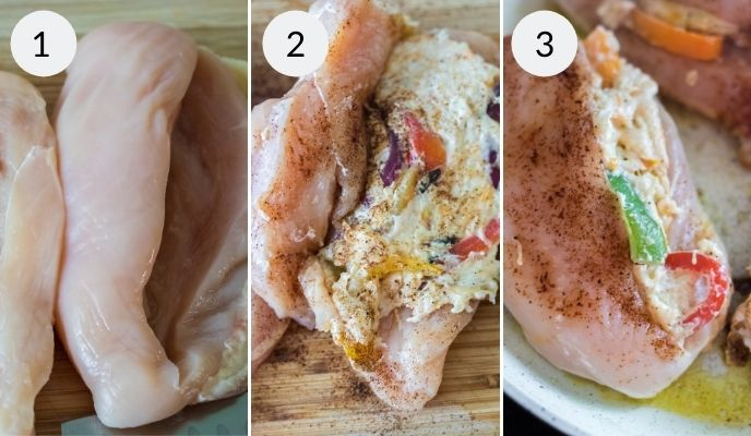 Chicken before and after stuffing with the cheese and vegetable mixture.