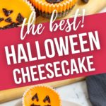 Mini Halloween cheesecakes on a cutting board and on a white plate.