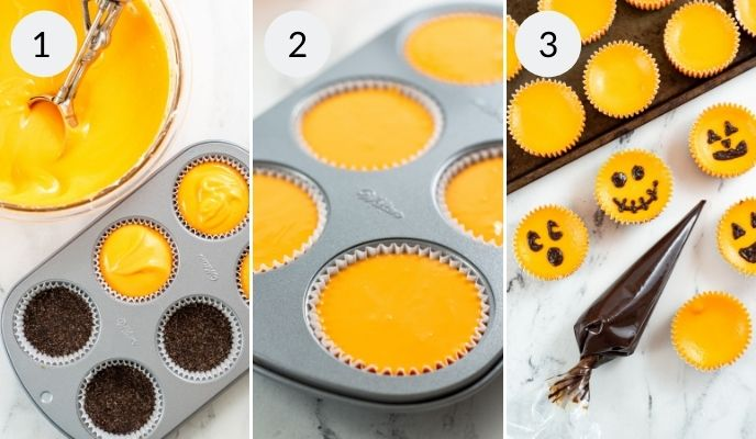 Topping the graham cracker crust with the cheesecake filling in the muffin tins.